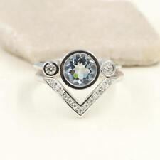 Round Aquamarine Bezel Bridal Ring & Chevron Diamond Wedding Band. 2pcs Set Ring