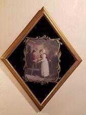 EUROPEAN ART STUDIO NYC VERY OLD PRINT/ART DIAMOND SHAPED FRAME BLACK GLASS