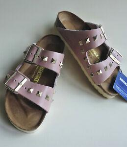 new BIRKENSTOCK Leather Sandals Slide ARIZONA Pyramids studded Rose US9 EU40 UK7