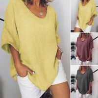 Oversize Women 3/4 Sleeve Casual Long Shirt Tops Oversize Plain Blouse Plus Size