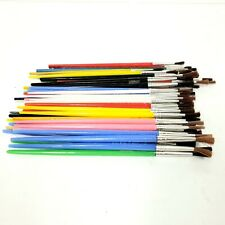 Lot of 57 Vintage Mostly Plastic Handled Painting Brushes Hong Kong Wood Japan