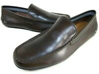 LACOSTE MEN'S BONAND LEATHER SLIP ON LOAFER DARK BROWN US MEDIUM NEW WITH BOX
