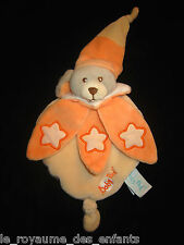 Doudou Chien gris beige orange saumon étoiles luminescentes Babynat' Baby Nat'