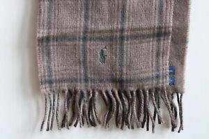 Polo Ralph Lauren Brown Lambs Wool Blend Scarf Fringe Windowpane Check Italy