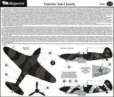 Begemot Decals 1/48 YAKOVLEV Yak-7 FAMILY Russian WWII Fighter