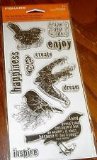 CLEAR ACRYLIC FISKARS STAMPS FOR THE BIRDS ~ LIVE YOUR LIFE, DREAM wks CTMH blks