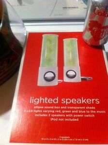 Lighted Speakers Elipse Sound Box Transparent Shade 3 LED Lights Red Green& Blue