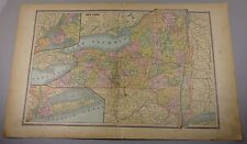 1887 NEW YORK NEW JERSEY  CONNECTICUT CRAMS MAPS  NY NJ CT