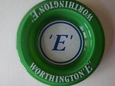 GREEN WORTHINGTON 'E' GLASS ASHTRAY.