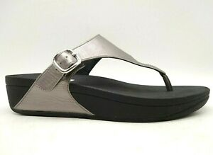 Fit Flop Pewter Adjustable Buckle Casual Slide Sandals Shoes Women's 8