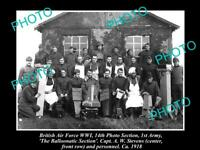 OLD LARGE HISTORIC PHOTO OF BRITISH AIR FORCE AERIAL PHOTO TEAM, c1918
