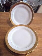 """9 T&V Tresseman & Vogt Limoges Gold Encrusted 6"""" Plates-For Stern Bros, NY"""