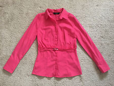 Express Stretch Hot Pink Fuchsia Belted Button Up Down Shirt Blouse Top S 5/6