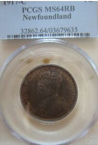 1917 Newfoundland Large Cent Coin. PCGS MS-64 RED