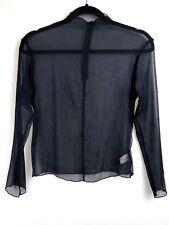 JEMO Dressing Blue Mesh Long Sleeve Blouse Size SMALL