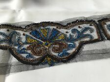 METRAGE ANCIEN Tulle Brodé Perles NAPOLEON III ANTIQUE French Victorian Ribbon