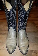 MENS JUSTIN LIZARD COWBOY BOOTS 9.5 EE GRAY 9 1/2 WIDE E MADE IN USA