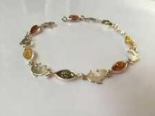 UNIQUE NATURAL BALTIC AMBER DOLPHIN BRACELET STERLING SILVER 925, BRA009