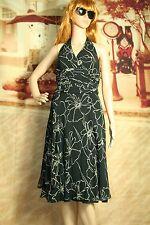 Womens Carmen Marc Valvo Signature dress silk black floral halter size 6