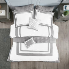 Grey/ Navy White Hotel Design 8 pcs Comforter and Coverlet Cal King Queen Set