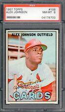 1967 Topps #108-Alex Johnson PSA 8 NM-MT St. Louis Cardinals  **TOUGH**