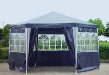 Pavillon PE Gartenzelt 6-eck mit 6 Seitenteilen In blau