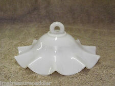"7"" Antique milk glass opalescent kerosene lamp hanging smoke bell shade"