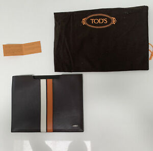 New. Tod'a leather ipad Case. Brown With White And Orange Stripes