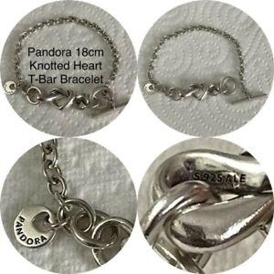 PANDORA SIZE 18cm KNOTTED HEART & T-BAR BRACELET REF 598100 RRP £90.00 S925 ALE