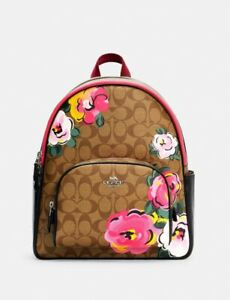 NWT Authentic Coach Court Backpack In Signature Canvas With Vintage Rose Print