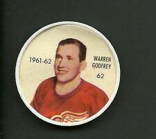 Warren Godfrey #62 Detroit Red Wings Vintage 1961-62 Shirriff Salada Hockey Coin