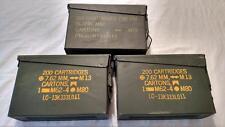 "3 EMPTY 30 CAL / 7.62 MM METAL US ARMY AMMO CANS (M19A1 SCF) 10 X 7 X 4"" W/LIDS"