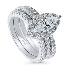 Zirconia Stackable Marquise Ring Sz.6 925 Fine Silver 1.5 Ctw Cubic