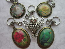 Clip On Keyring Purse Bag Zip charm flower rose owl cat parrot bronze silver
