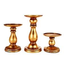 Set of 3 Graduated Candle Holder Pedestals by Valerie Antique Gold H207986
