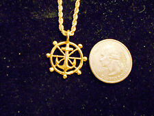 bling gold plated sailboat wheel anchor charm mariner chain hip hop necklace hot