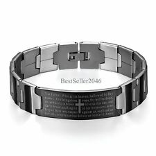 Lord's Prayer Our Father Stainless Steel Cross Bracelet  Men's Religious Jewelry