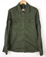 G-Star Raw Herren Offizier Freizeit Vintage Reißverschluss Hemd Größe M AVZ1313