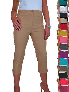 NEW High Waist Skinny Stretch Pedal Pushers Summer Cropped Trousers 8-22