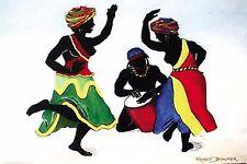 "EBONY DANCER POSTER PRINT AFRICAN BLACK CARIBBEAN ART BY ROMEO DOWNER 24""x36"""