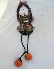 Vtg Halloween Metal Black Cat Pumpkin Bells Door Knob Hanger Fall Autumn Decor