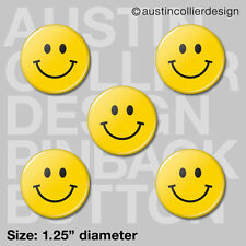 "(5) HAPPY FACE 1.25"" pinback buttons / badges - smiley smile pins"