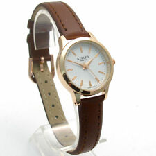 Faux Leather Band Gloss Analogue Round Wristwatches