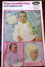 Patons Baby Jackets Bonnets & cardigans  knitting pattern in Feathersoft no.389