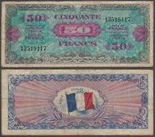France - WWII Allied Military Currency, 50 Francs, 1944, VF++, P-117(a)