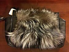 NWT COACH LTD ED LEGACY SILVER FOX FUR BLACK Leather Trim CLUTCH Handbag