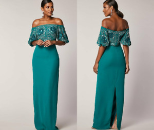 Virgos Lounge Emerald TAHLIA Embellished Occasion Maxi Dress Party Gown UK 8 36