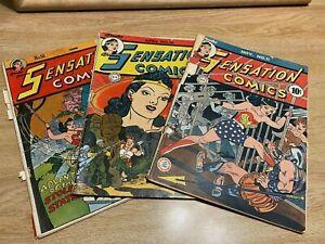 Sensation Comics Lot, Issue #'s 11 (1942), 16 (1943), 54 (1946) Wonder Woman
