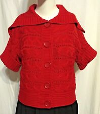 Michael Kors Cable Knit Cotton Cardigan Sweater Short Sleeve Button Down Sz: S/P