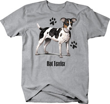 Cute Spotted Rat Terrier Dog Standing up With Paw Prints Custom T Shirt